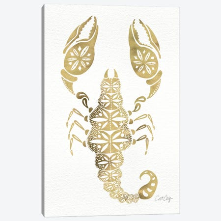 Gold Scorpion Artprint Canvas Print #CCE113} by Cat Coquillette Canvas Art Print