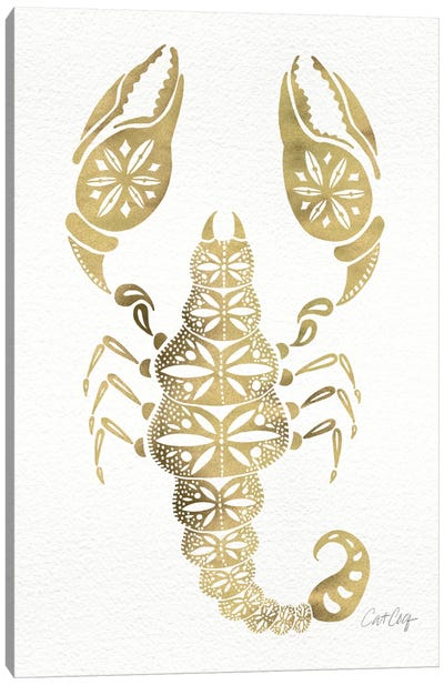 Gold Scorpion Artprint Canvas Print #CCE113