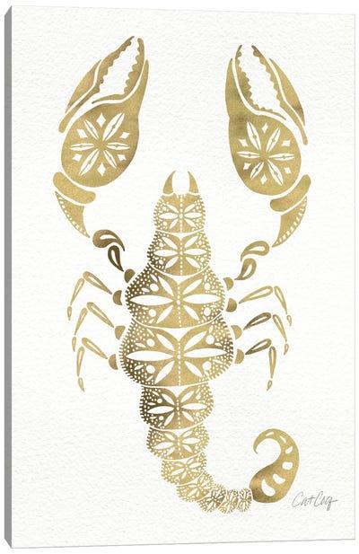 Gold Scorpion Artprint Canvas Print #CCE113