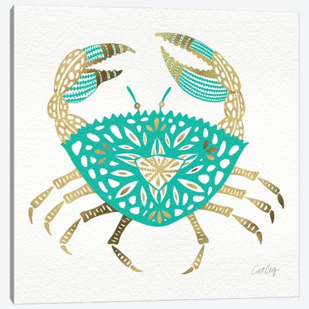 Gold Turquoise Crab Artprint Canvas Print #CCE115} by Cat Coquillette Canvas Art