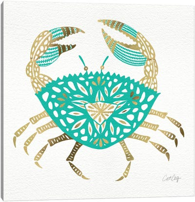 Gold Turquoise Crab Artprint Canvas Print #CCE115
