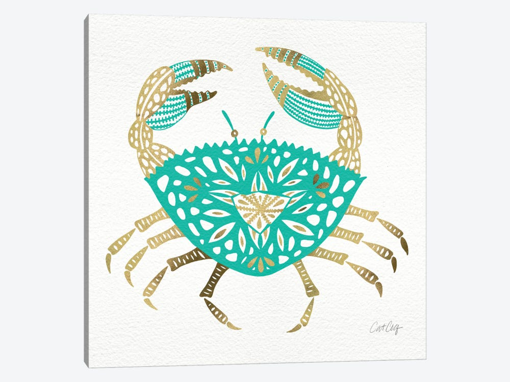 Gold Turquoise Crab Artprint by Cat Coquillette 1-piece Canvas Art Print