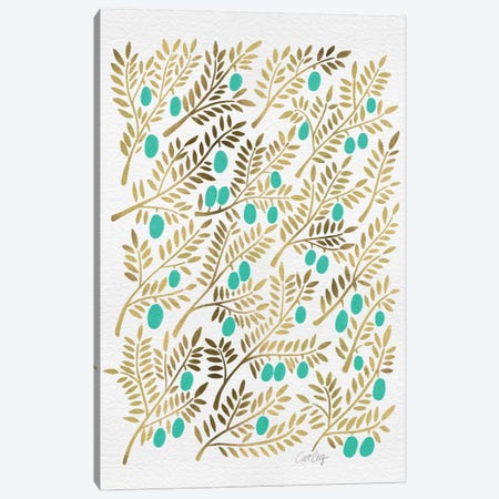 Turquoise Olive Branches Artprint Canvas Print #CCE116} by Cat Coquillette Canvas Wall Art