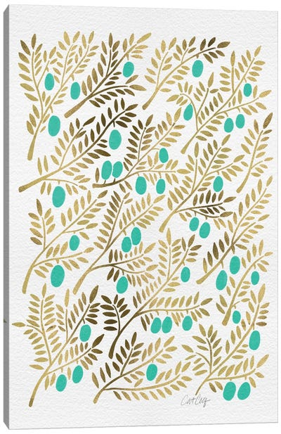 Turquoise Olive Branches Artprint Canvas Print #CCE116