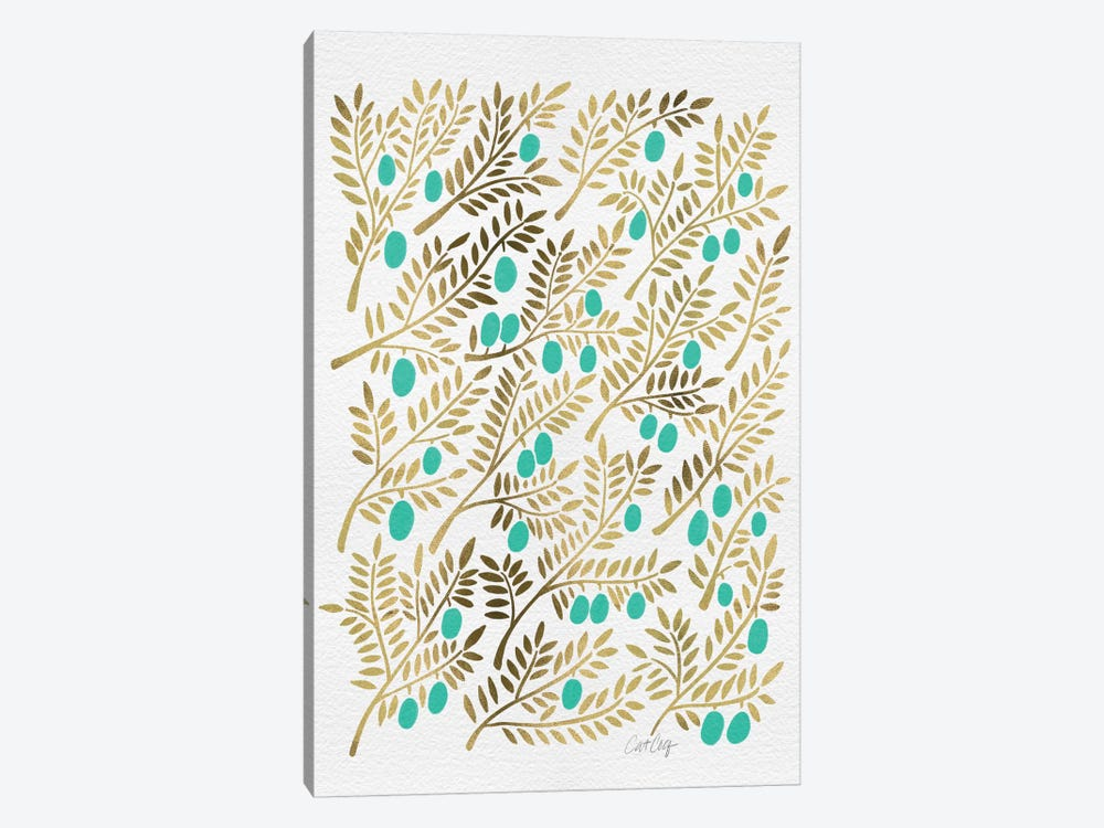 Turquoise Olive Branches Artprint by Cat Coquillette 1-piece Canvas Artwork