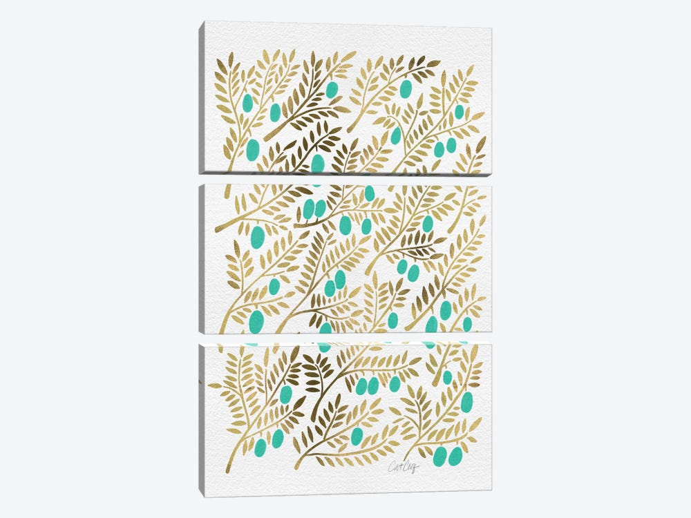 Turquoise Olive Branches Artprint by Cat Coquillette 3-piece Canvas Wall Art