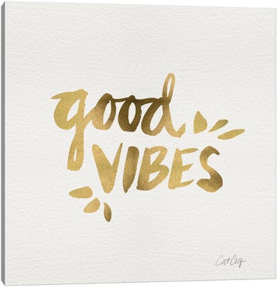 Good Vibes Gold Artprint Canvas Print #CCE119