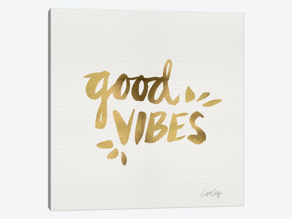 Good Vibes Gold Artprint by Cat Coquillette 1-piece Canvas Print