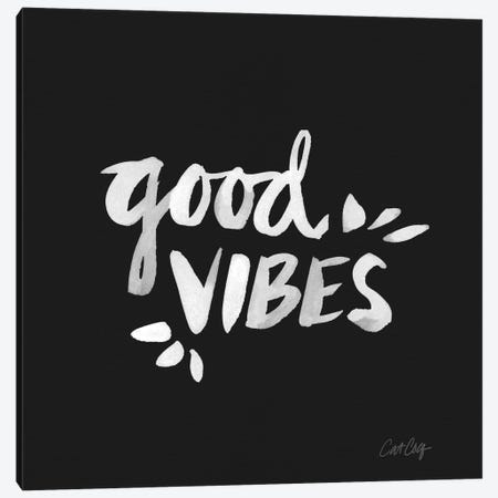 Good Vibes - White Artprint Canvas Print #CCE121} by Cat Coquillette Canvas Artwork