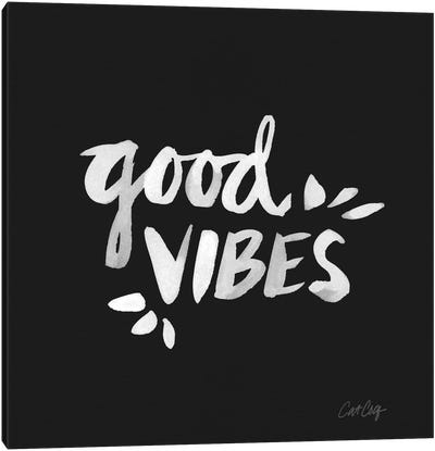 Good Vibes - White Artprint Canvas Print #CCE121