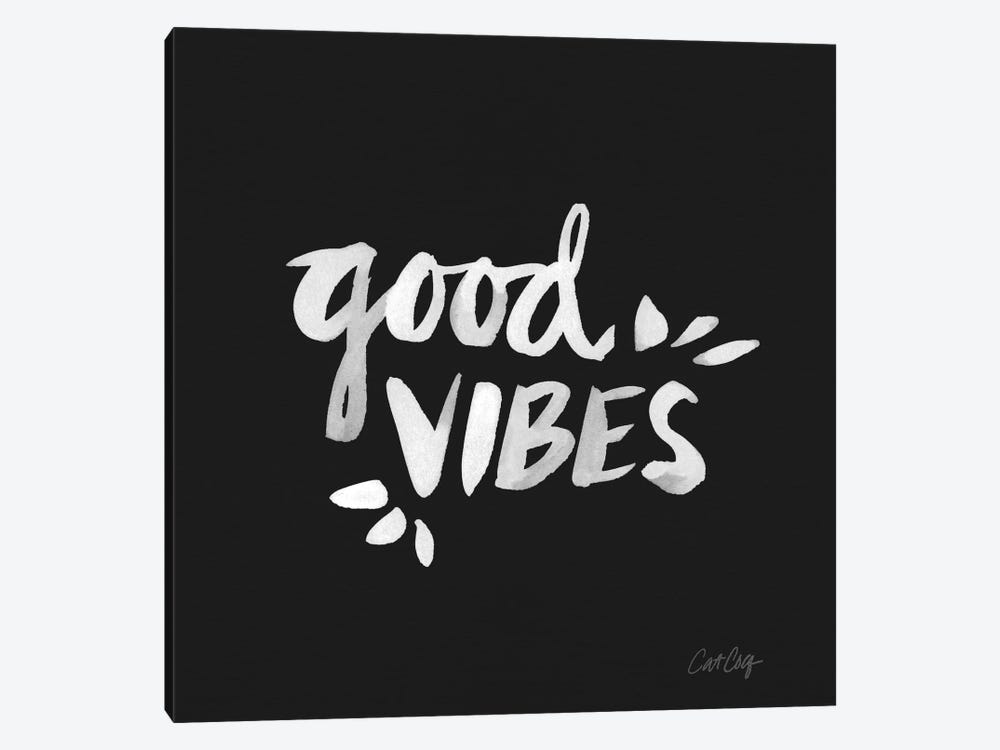 Good Vibes - White Artprint by Cat Coquillette 1-piece Canvas Wall Art