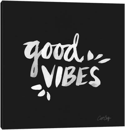 Good Vibes - White Canvas Art Print