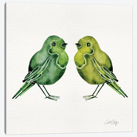 Green Birds Canvas Print #CCE124} by Cat Coquillette Canvas Art Print