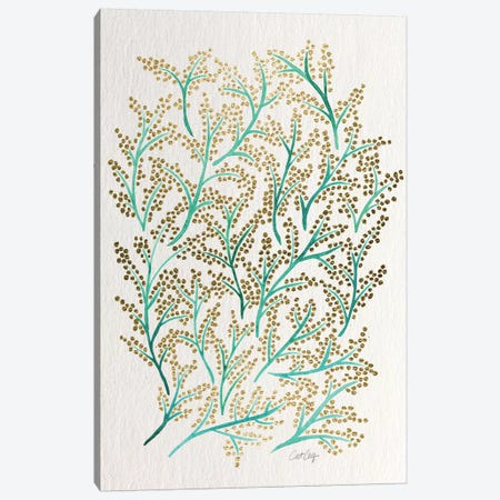 Green Gold Branches Artprint Canvas Print #CCE126} by Cat Coquillette Canvas Print