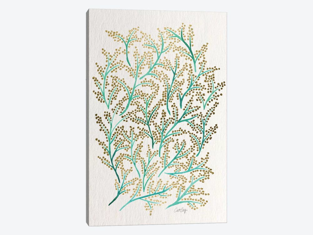 Green Gold Branches Artprint by Cat Coquillette 1-piece Canvas Art Print