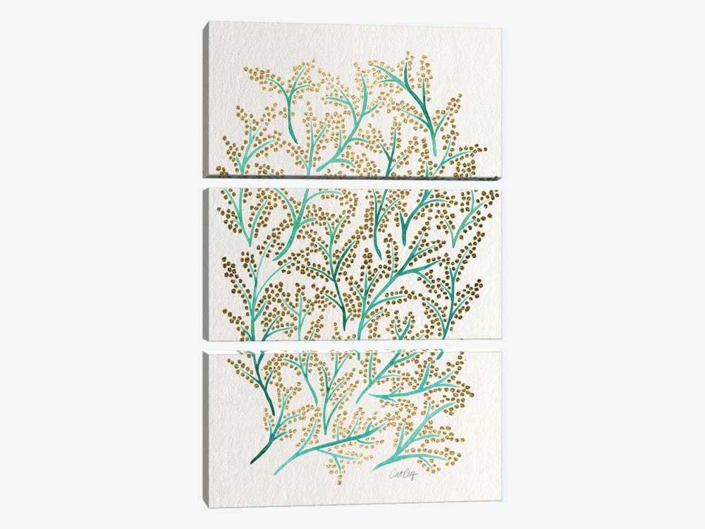 Green Gold Branches Artprint by Cat Coquillette 3-piece Art Print