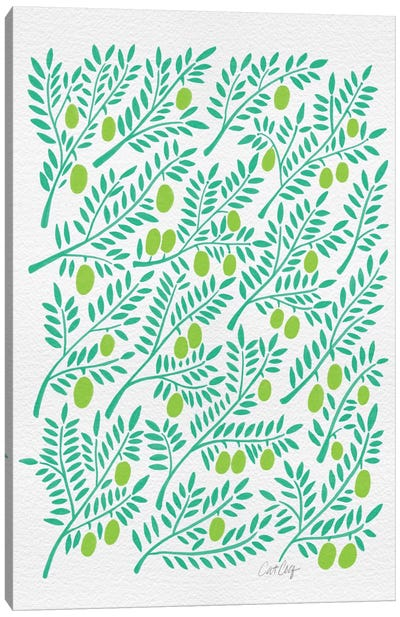 Green Olive Branches Artprint Canvas Print #CCE127