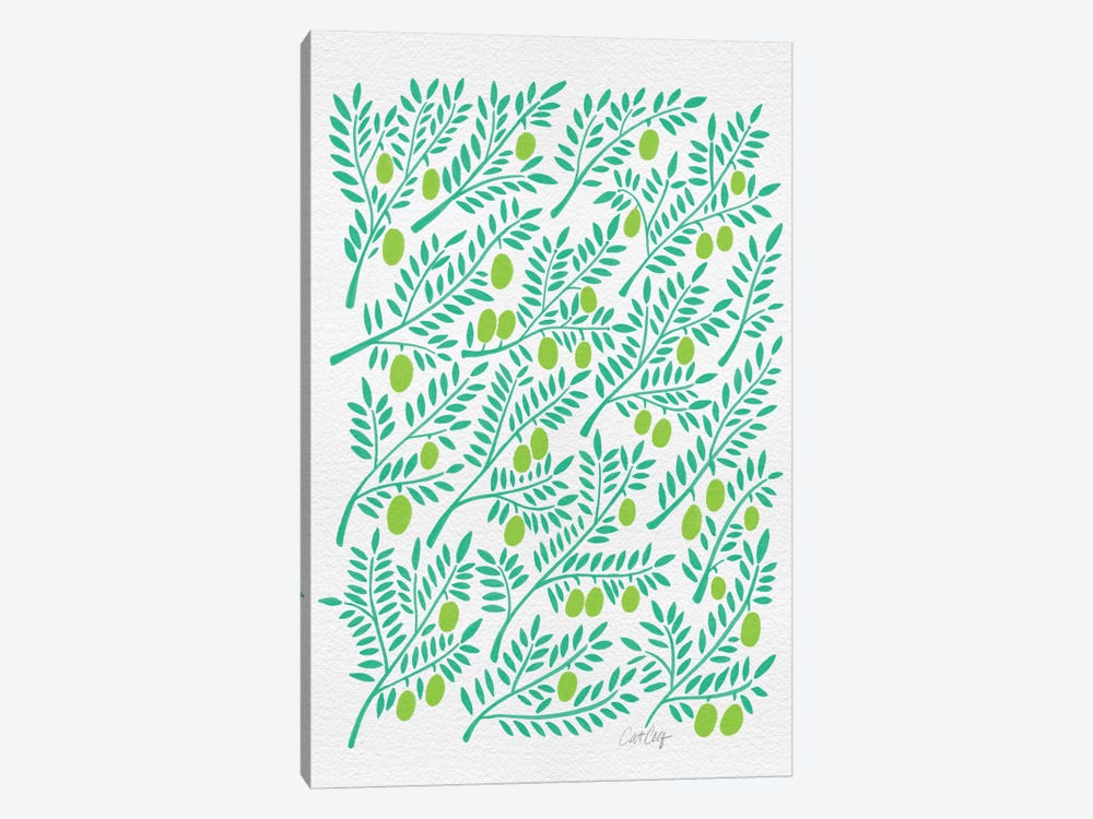 Green Olive Branches Artprint by Cat Coquillette 1-piece Canvas Wall Art