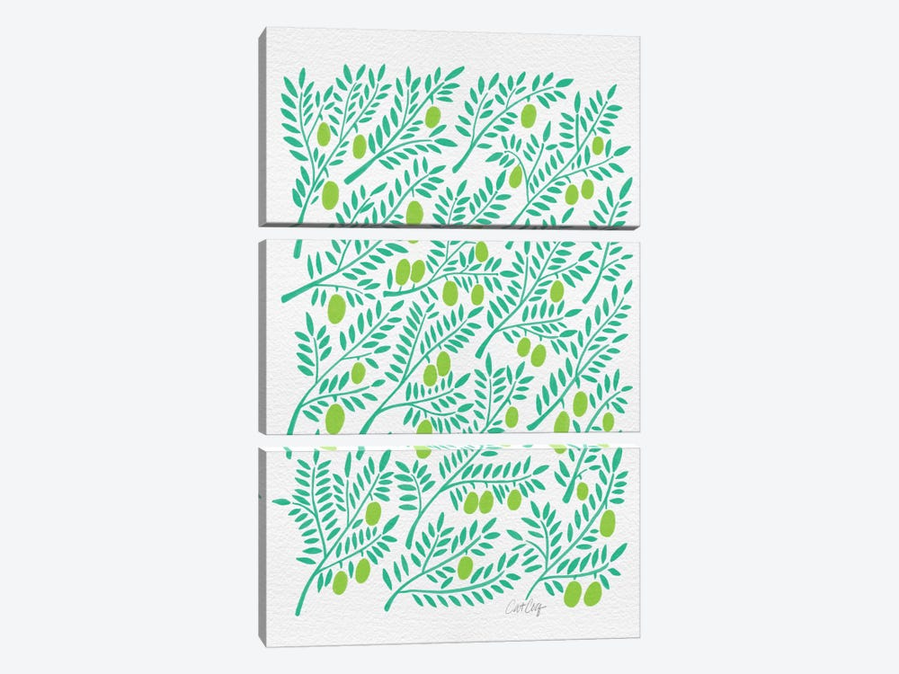 Green Olive Branches Artprint by Cat Coquillette 3-piece Canvas Art