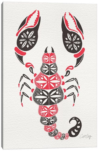 Grey Pink Scorpion Artprint Canvas Art Print