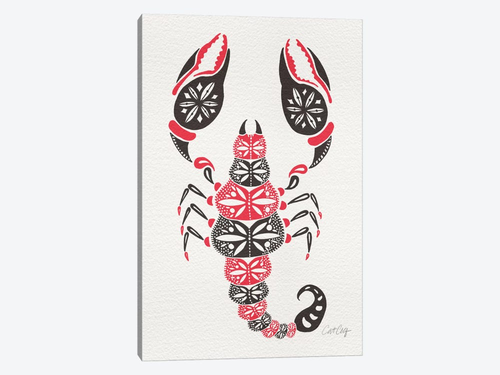 Grey Pink Scorpion Artprint by Cat Coquillette 1-piece Canvas Artwork