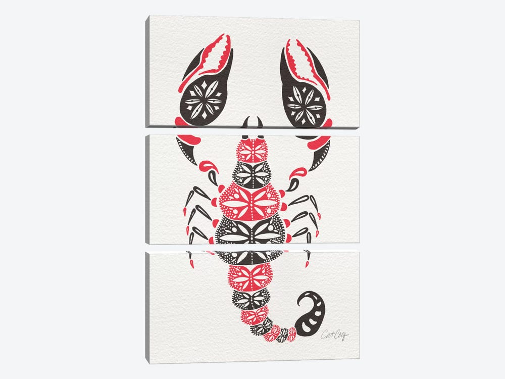 Grey Pink Scorpion Artprint by Cat Coquillette 3-piece Canvas Artwork