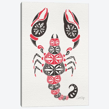 Grey Pink Scorpion Canvas Print #CCE129} by Cat Coquillette Canvas Wall Art