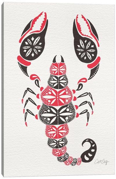 Grey Pink Scorpion Canvas Art Print