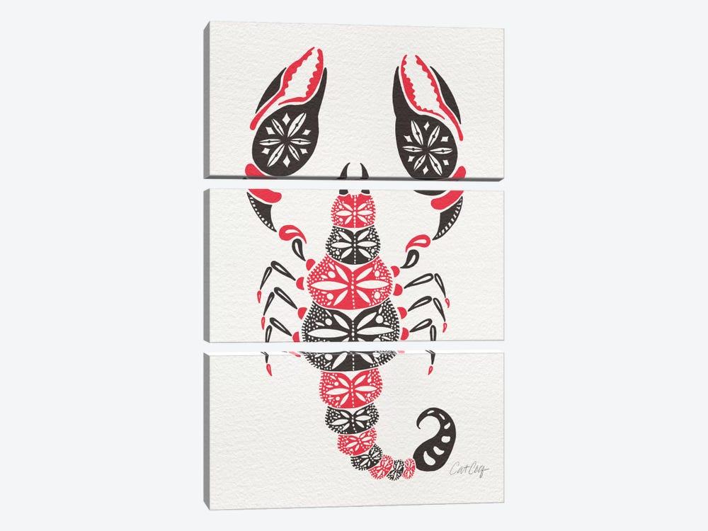 Grey Pink Scorpion by Cat Coquillette 3-piece Canvas Artwork