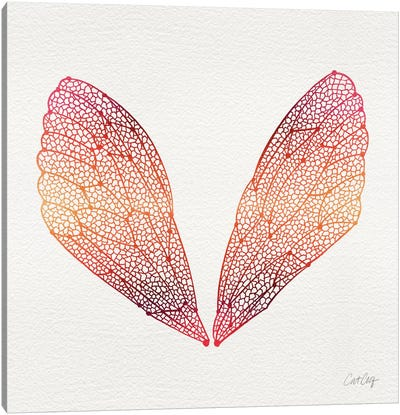 Cicada Wings Pink Orange Artprint Canvas Art Print