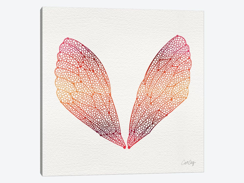 Cicada Wings Pink Orange Artprint by Cat Coquillette 1-piece Canvas Wall Art