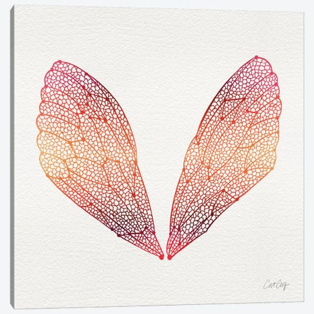 Cicada Wings Pink Orange Canvas Print #CCE134} by Cat Coquillette Canvas Art