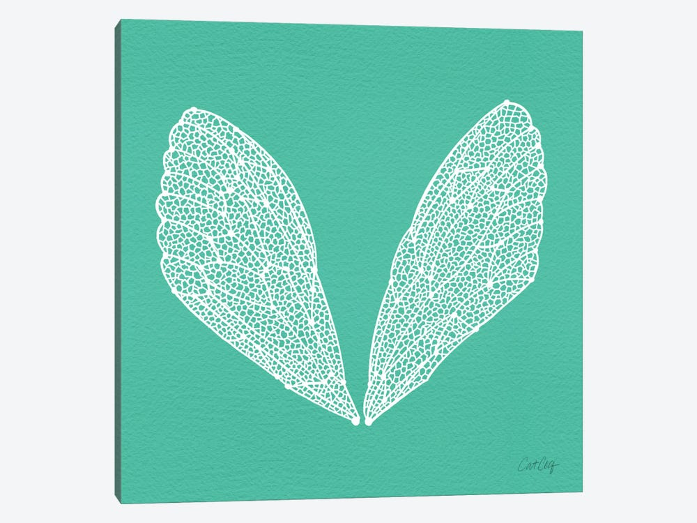 Cicada Wings Turquoise White Artprint by Cat Coquillette 1-piece Canvas Artwork