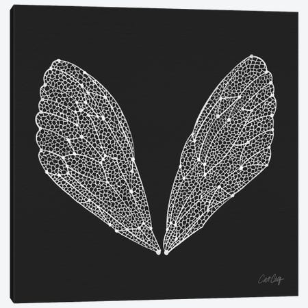 Cicada Wings White Artprint Canvas Print #CCE139} by Cat Coquillette Art Print