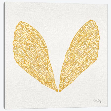 Cicada Wings Yellow Artprint Canvas Print #CCE140} by Cat Coquillette Canvas Artwork