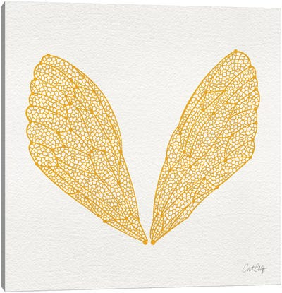 Cicada Wings Yellow Artprint Canvas Print #CCE140
