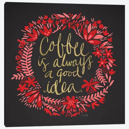 Coffee Charcoal Canvas Print #CCE142} by Cat Coquillette Canvas Art