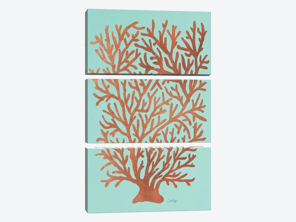Copper Coral Artprint by Cat Coquillette 3-piece Canvas Art