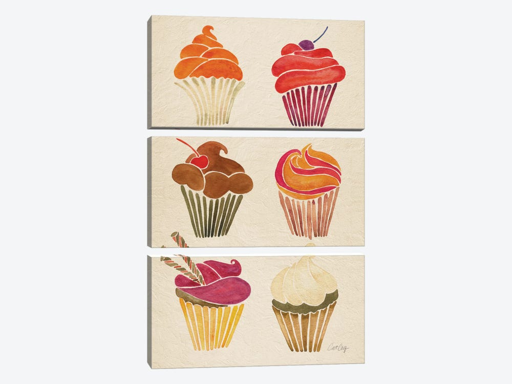 Cupcakes by Cat Coquillette 3-piece Canvas Art Print