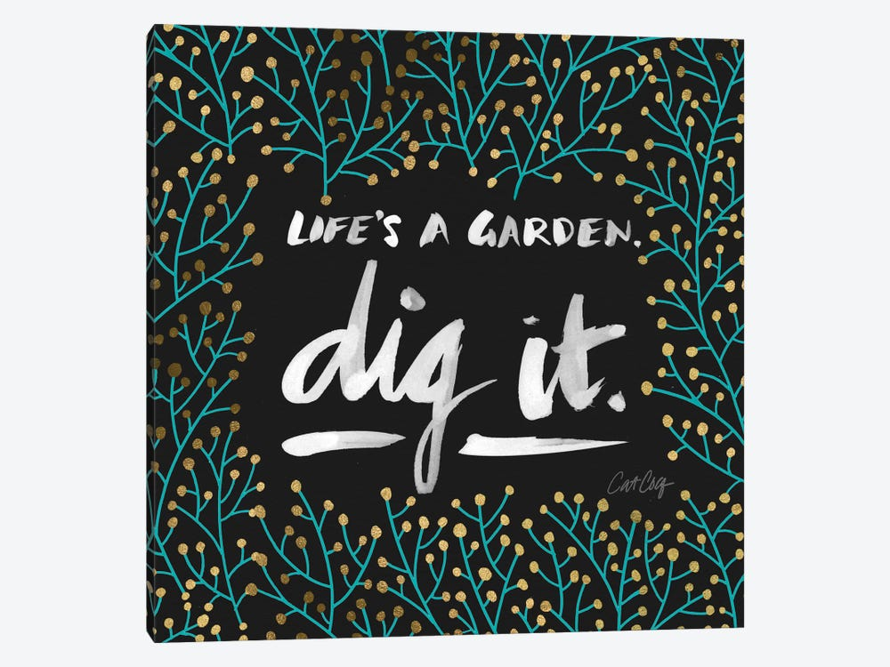Dig It Black Turquoise Artprint by Cat Coquillette 1-piece Canvas Wall Art