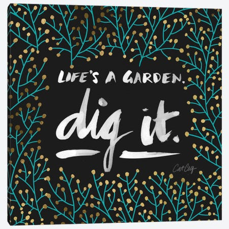 Dig It Black Turquoise Canvas Print #CCE149} by Cat Coquillette Canvas Artwork