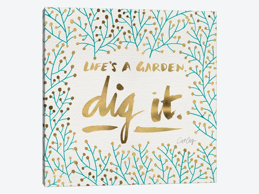Dig It Turquoise Gold Artprint by Cat Coquillette 1-piece Canvas Print