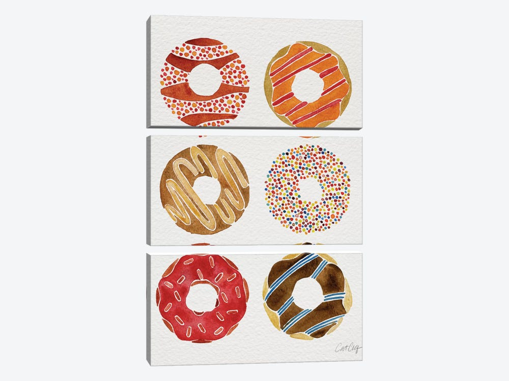 Donuts II by Cat Coquillette 3-piece Canvas Art Print