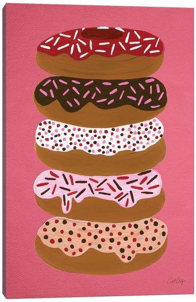 Donuts Stacked Cherry Artprint Canvas Print #CCE158