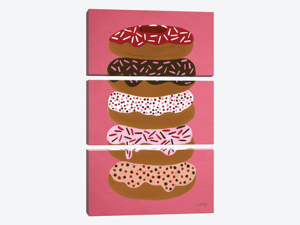 Donuts Stacked Cherry Artprint by Cat Coquillette 3-piece Canvas Wall Art