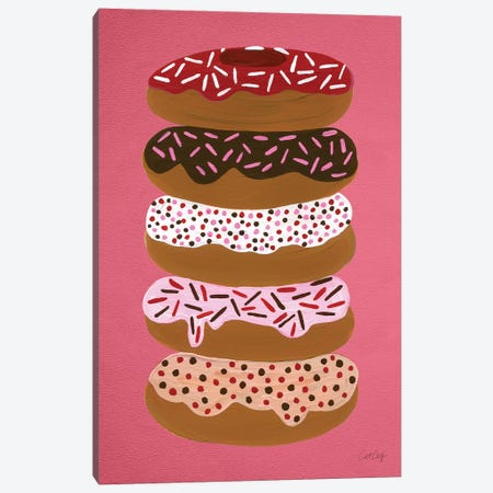 Donuts Stacked Cherry Canvas Print #CCE158} by Cat Coquillette Canvas Art Print