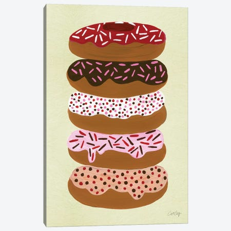 Donuts Stacked Cream Canvas Print #CCE159} by Cat Coquillette Art Print