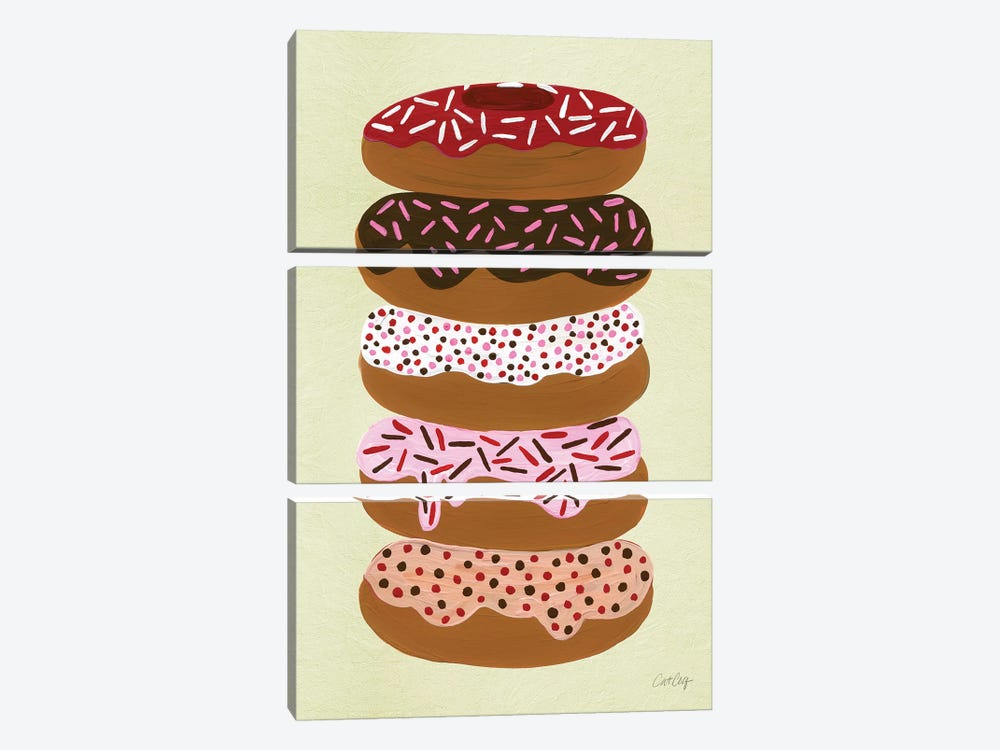 Donuts Stacked Cream by Cat Coquillette 3-piece Canvas Print