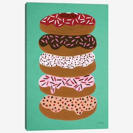 Donuts Stacked Mint Artprint Canvas Print #CCE160} by Cat Coquillette Canvas Artwork