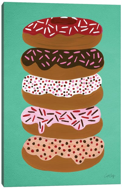 Donuts Stacked Mint Canvas Art Print